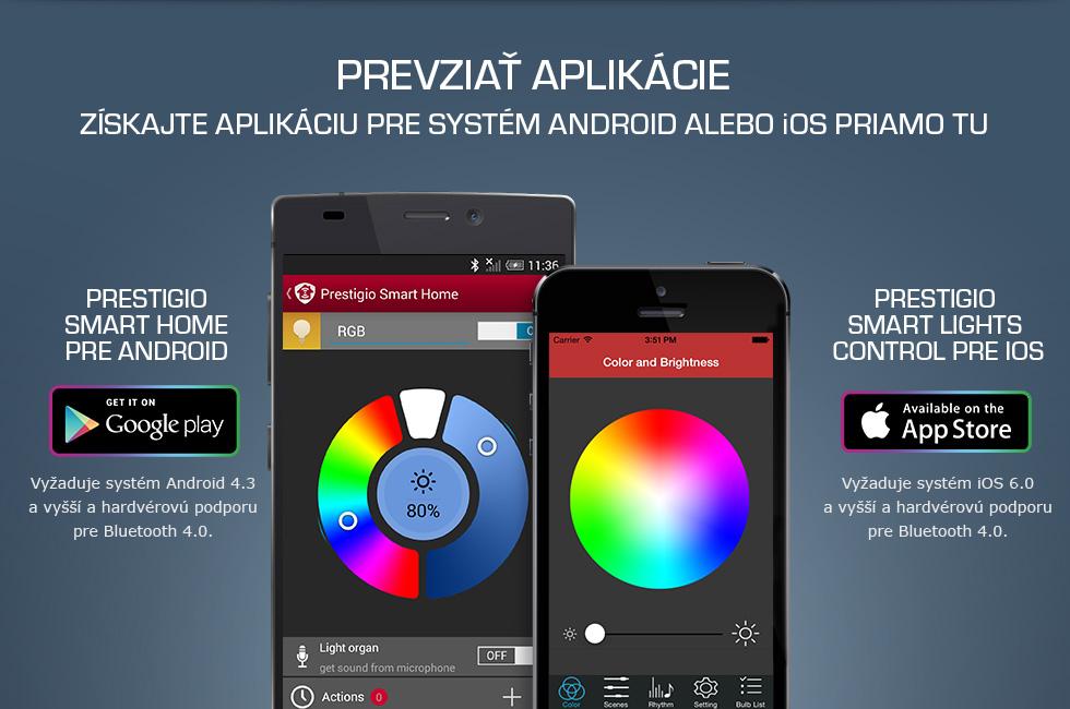 Aplikacia na farebnu prestigio smart led
